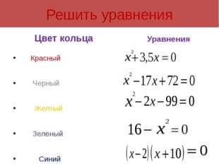 Решить уравнения Цвет кольца Красный Черный Желтый Зеленый Синий Уравнения