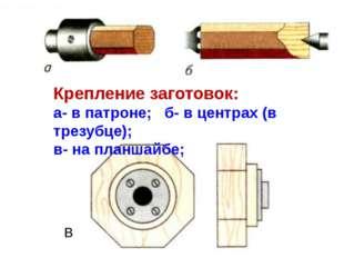 Крепление заготовок: а- в патроне; б- в центрах (в трезубце); в- на планшайбе