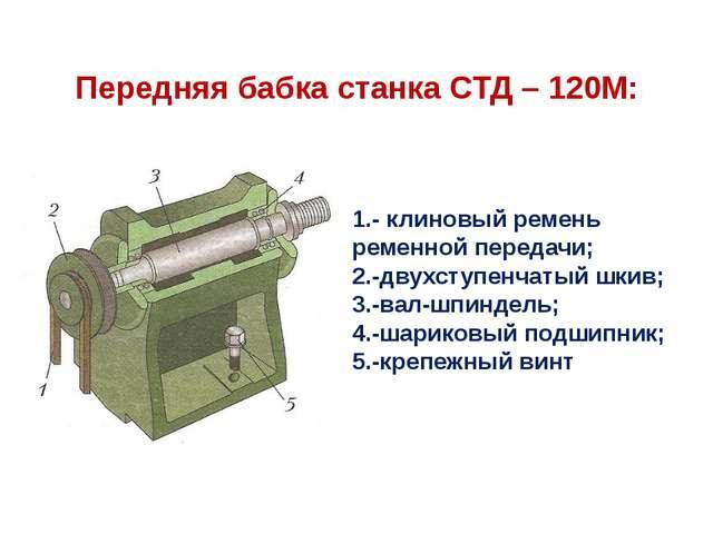 Передняя бабка станка СТД – 120М: 1.- клиновый ремень ременной передачи; 2.-д...
