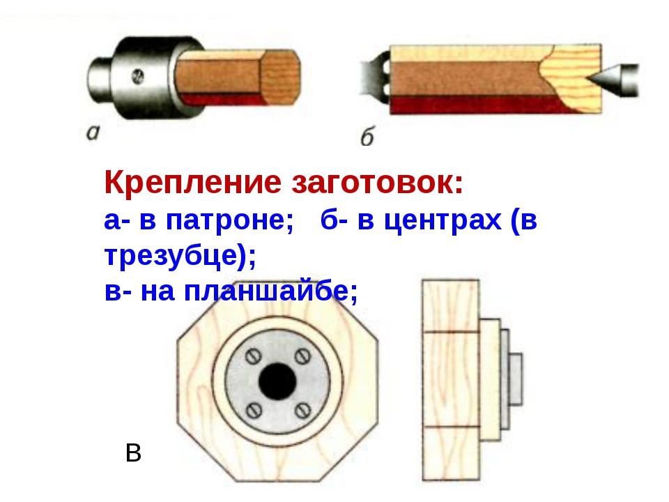 Крепление заготовок: а- в патроне; б- в центрах (в трезубце); в- на планшайбе...
