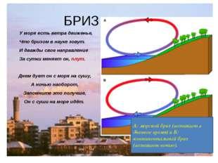 БРИЗ У моря есть ветра движенье, Что бризом в науке зовут. И дважды свое напр
