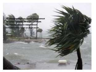 Но ветер может вызвать разрушения На суше – ураган, на море – шторм. Причино