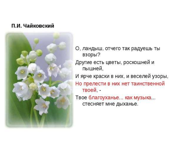 П.И. Чайковский О, ландыш, отчего так радуешь ты взоры? Другие есть цветы, ро...