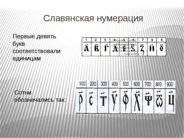Славянская нумерация Первые девять букв соответствовали единицам Сотни обозна...