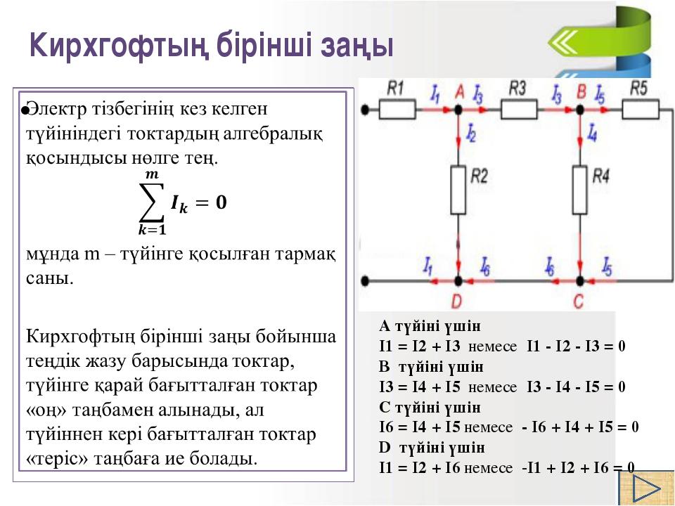 а түйіні үшін Кирхгофтың бірінші заңы (1.2 суретте) I-I1-I2=0. (1.2 сур...