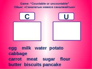 "Game: ""Countable or uncountable"" Ойын: «Саналатын немесе саналмайтын» C U egg"