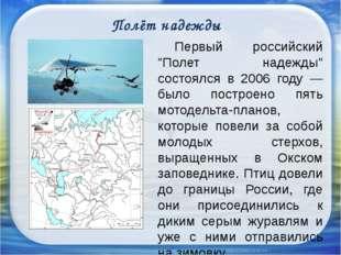 """Полёт надежды Первый российский """"Полет надежды"""" состоялся в 2006 году — был"""