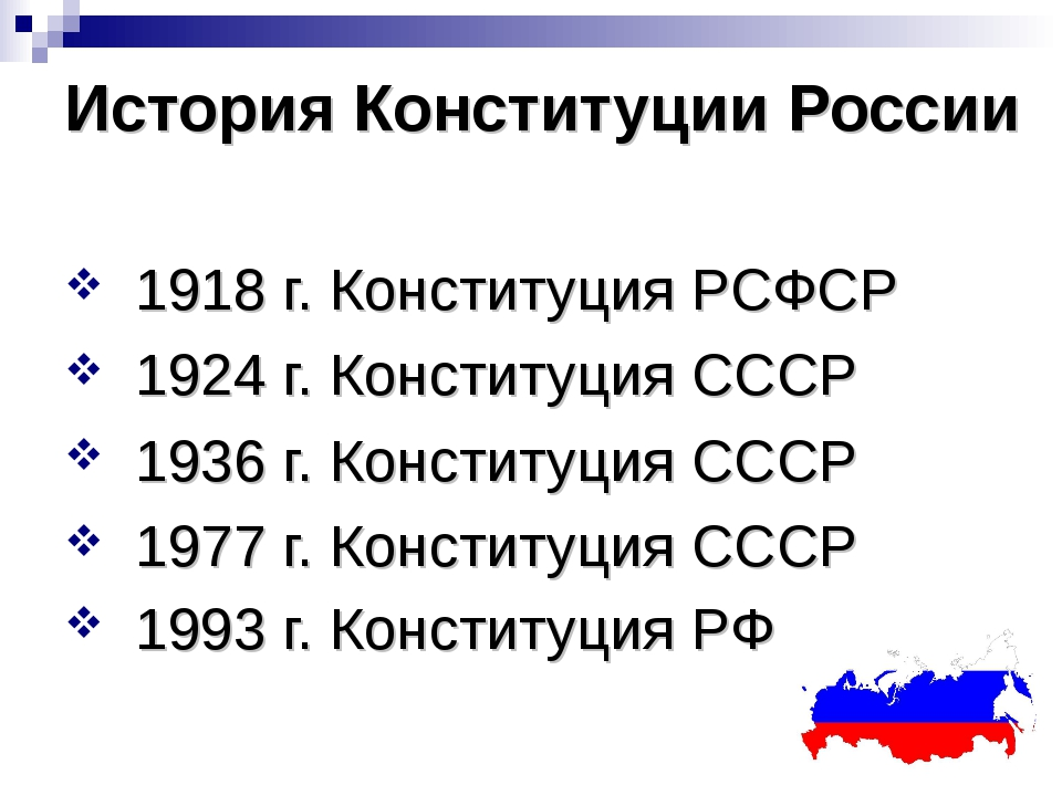 История Конституции России 1918 г. Конституция РСФСР 1924 г. Конституция СССР...