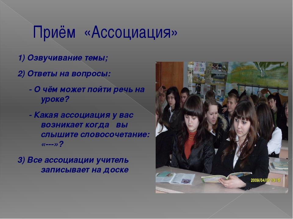 Приём «Ассоциация» 1) Озвучивание темы; 2) Ответы на вопросы: - О чём может п...