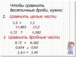 сравнить целые части 5,3 > 2,1 14,153 < 23,2 6,72 ? 6,382 2. сравнить дробны