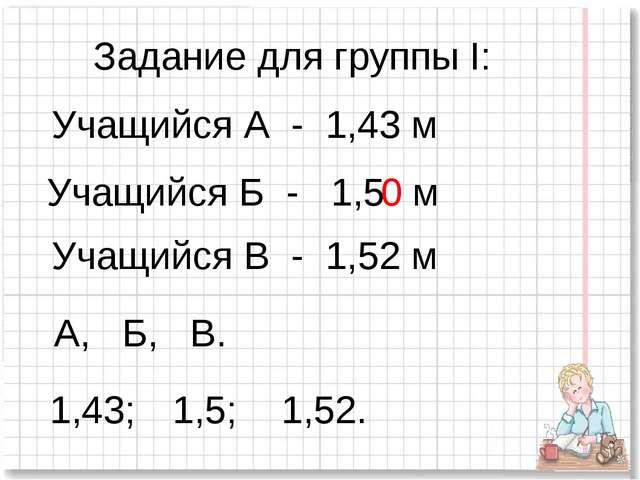 Задание для группы I: Учащийся А - 1,43 м Учащийся Б - 1,5 Учащийся В - 1,52...