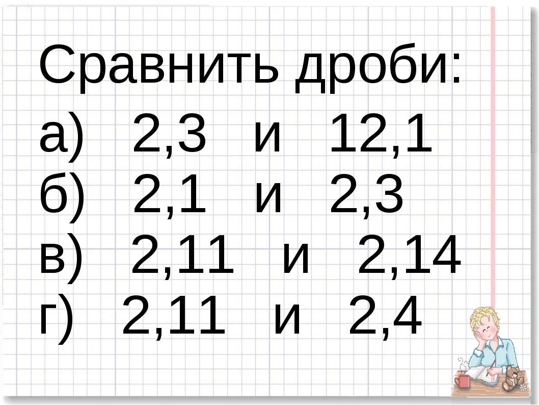 Сравнить дроби: а) 2,3 и 12,1 б) 2,1 и 2,3 в) 2,11 и 2,14 г) 2,11 и 2,4
