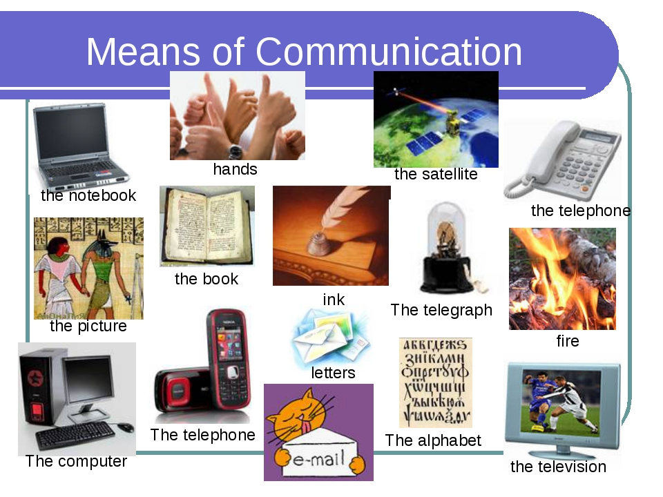 Means of Communication hands the notebook the satellite the book the picture...