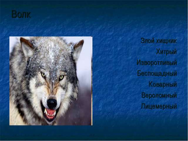 Волк Злой хищник Хитрый Изворотливый Беспощадный Коварный Вероломный Лицемерный