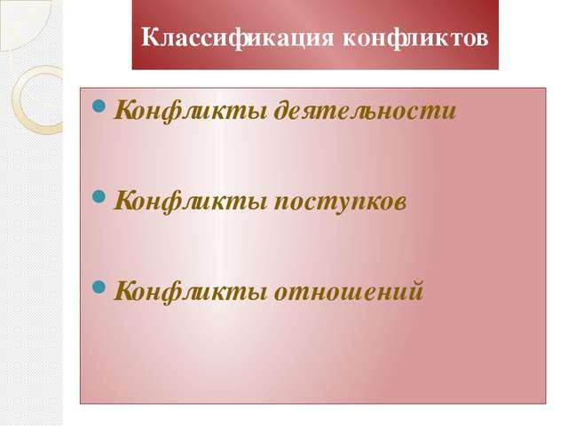 Классификация конфликтов Конфликты деятельности Конфликты поступков Конфликты...