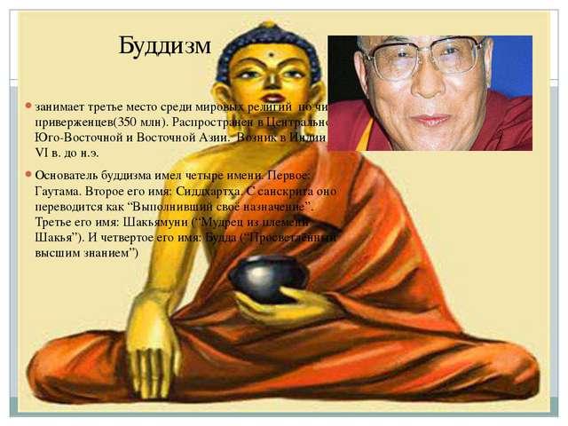 Буддизм занимает третье место среди мировых религий по числу приверженцев(350...