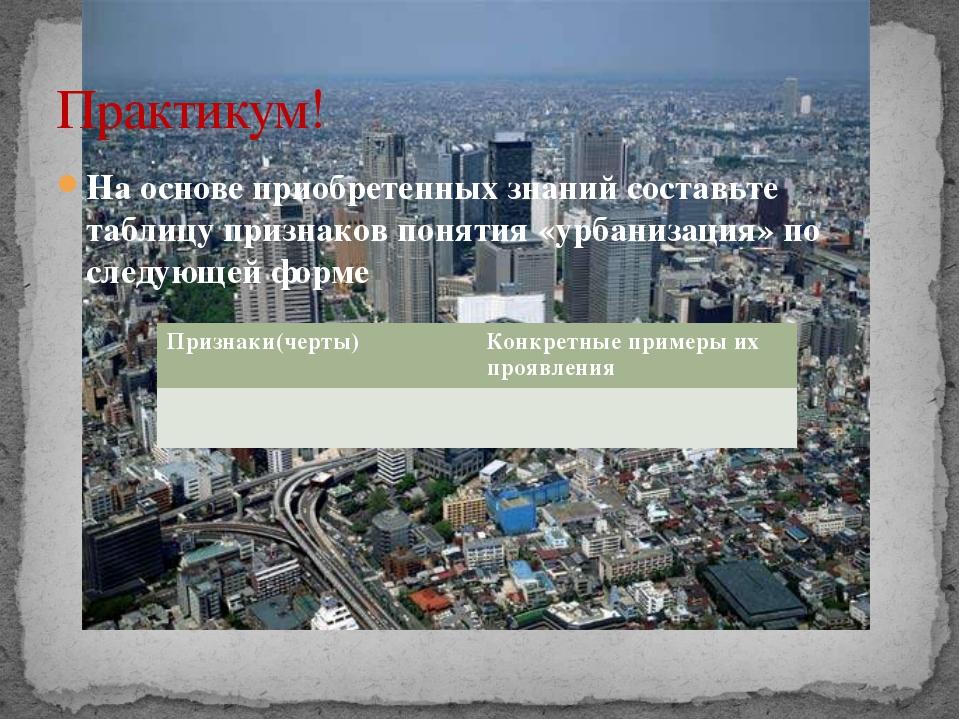 На основе приобретенных знаний составьте таблицу признаков понятия «урбанизац...