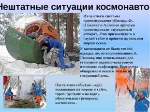 Нештатные ситуации космонавтов Из-за отказа системы ориентирования «Восхода-2