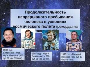 Продолжительность непрерывного пребывания человека в условиях космического по