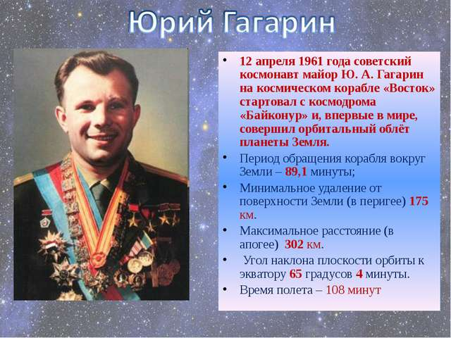 12 апреля 1961 года советский космонавт майор Ю. А. Гагарин на космическом ко...
