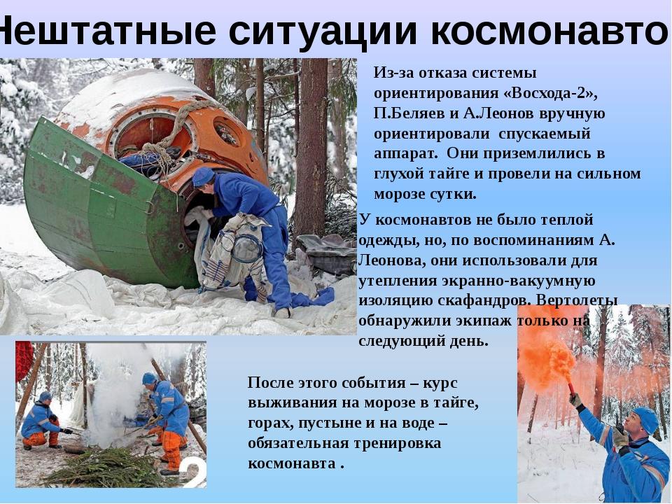 Нештатные ситуации космонавтов Из-за отказа системы ориентирования «Восхода-2...