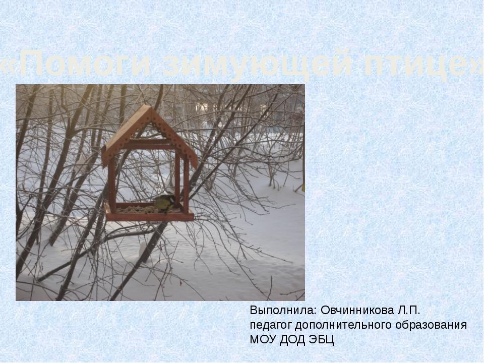 «Помоги зимующей птице» Выполнила: Овчинникова Л.П. педагог дополнительного о...