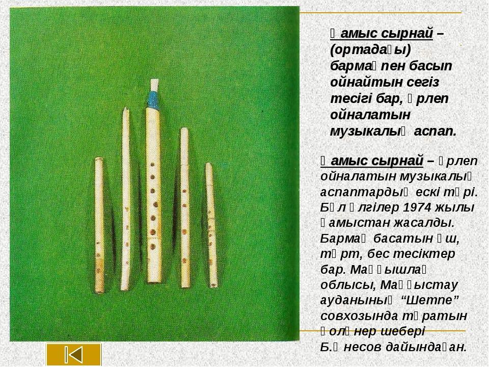 Қамыс сырнай – үрлеп ойналатын музыкалық аспаптардың ескі түрі. Бұл үлгілер 1...