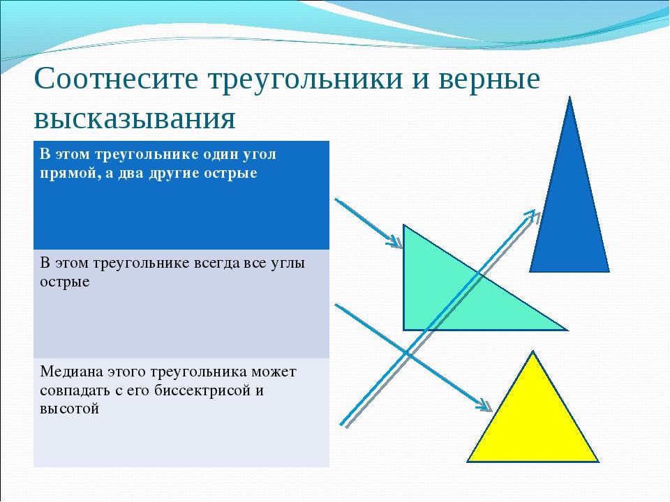 Соотнесите треугольники и верные высказывания В этом треугольнике один угол п...