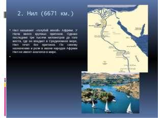2.Нил (6671 км.) Нил называют «голубой веной» Африки. У Нила много крупных п