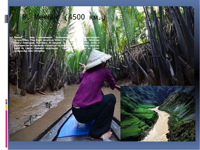 8.Меконг (4500 км.) Меконг – река, являющаяся крупнейшей рекой Индокитайског...