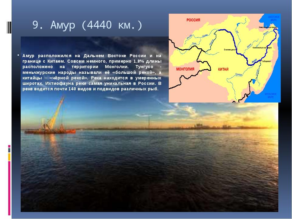 9.Амур (4440 км.) Амур расположился на Дальнем Востоке России и на границе с...
