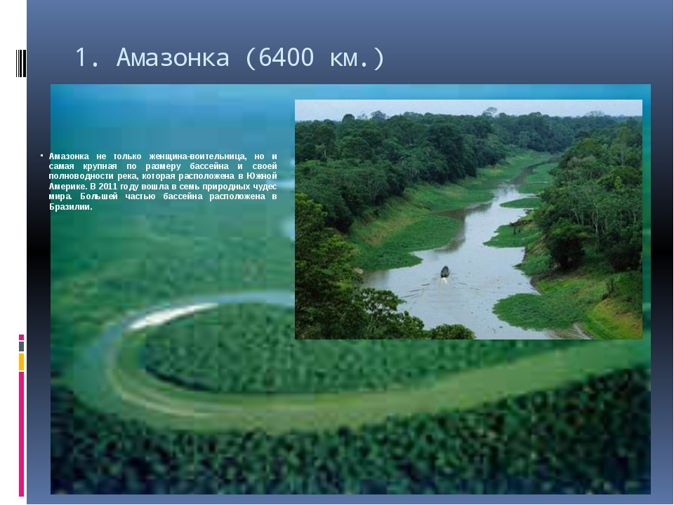 1.Амазонка (6400 км.) Амазонка не только женщина-воительница, но и самая кру...