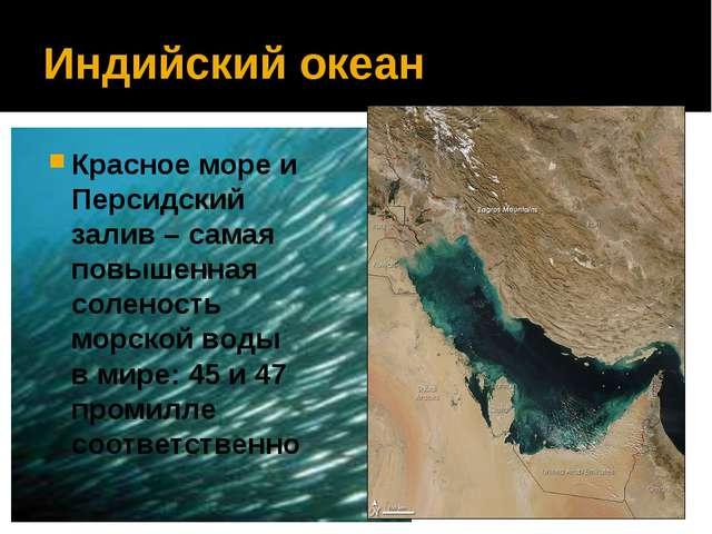Индийский океан Красное море и Персидский залив – самая повышенная соленость...