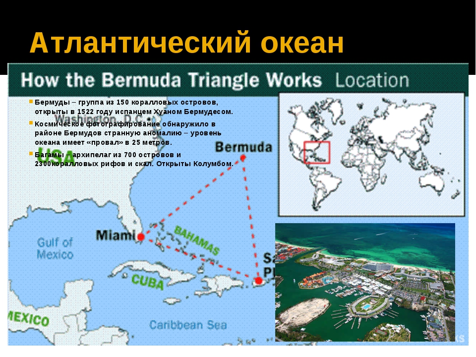 Атлантический океан Бермуды – группа из 150 коралловых островов, открыты в 15...