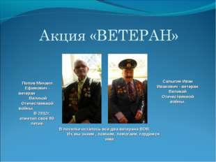 Попов Михаил Ефимович - ветеран Великой Отечественной войны. В 2012г. отметил
