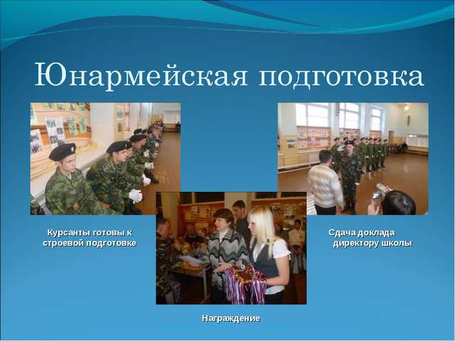 Курсанты готовы к строевой подготовке Сдача доклада директору школы Награждение