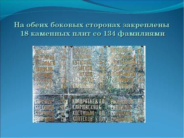 На обеих боковых сторонах закреплены 18 каменных плит со 134 фамилиями