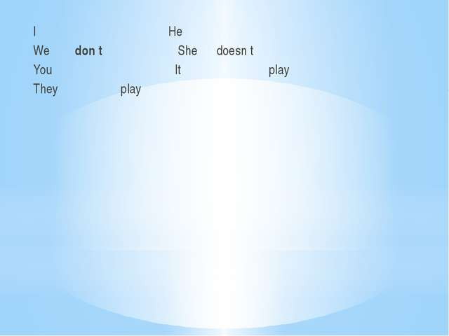 I He We don t She doesn t You It play They play