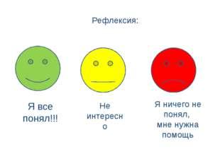 Рефлексия: Я все понял!!! Не интересно Я ничего не понял, мне нужна помощь