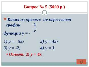 Вопрос № 5 (5000 р.) Какая из прямых не пересекает график функции у = - 1) у