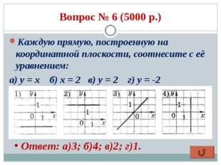 Вопрос № 6 (5000 р.) Каждую прямую, построенную на координатной плоскости, со