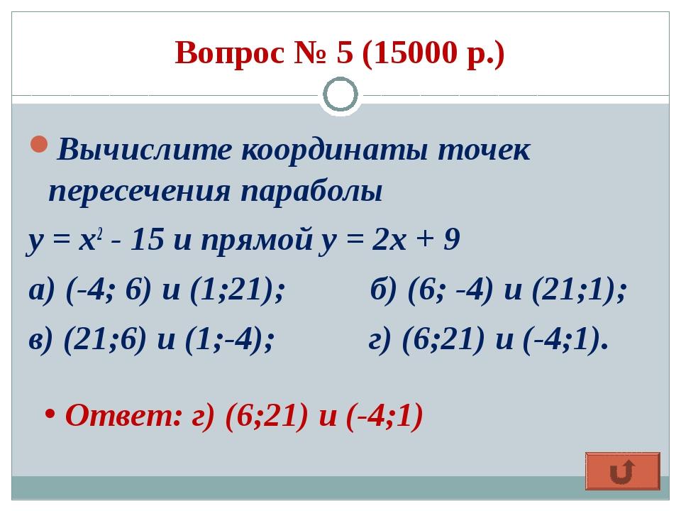 Вопрос № 5 (15000 р.) Вычислите координаты точек пересечения параболы у = x2...
