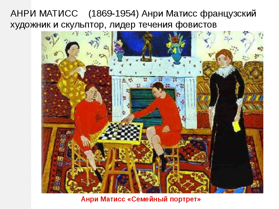 АНРИ МАТИСС (1869-1954) Анри Матисс французский художник и скульптор, лидер т...