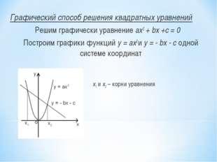 Графический способ решения квадратных уравнений Решим графически уравнение а
