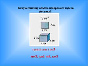 Какую единицу объёма изображает куб на рисунке? 1 куб.см или 1 см 3 мм3, дм3,