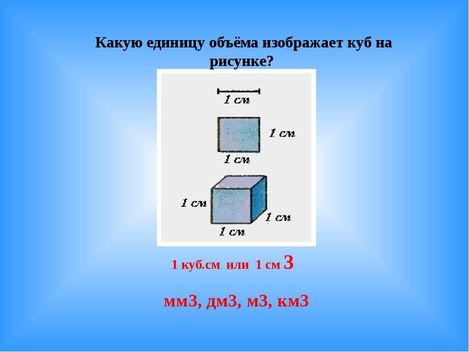 Какую единицу объёма изображает куб на рисунке? 1 куб.см или 1 см 3 мм3, дм3,...