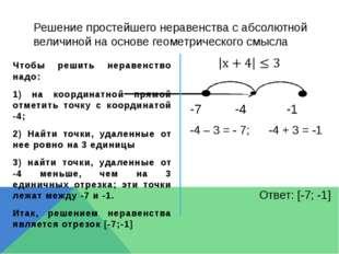 Решение простейшего неравенства с абсолютной величиной на основе геометрическ