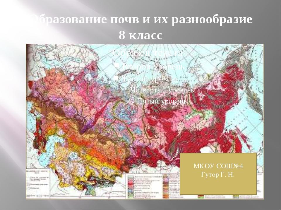 Образование почв и их разнообразие 8 класс МКОУ СОШ№4 Гутор Г. Н.
