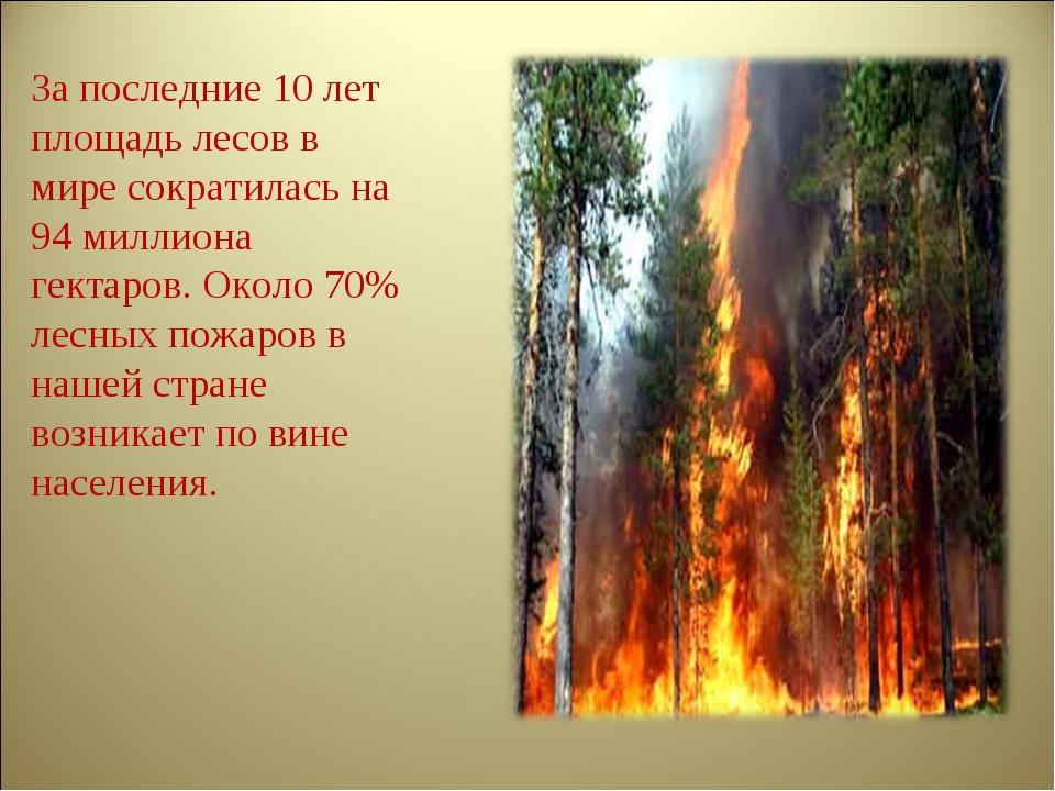 За последние 10 лет площадь лесов в мире сократилась на 94 миллиона гектаров....
