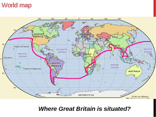 World map Where Great Britain is situated?